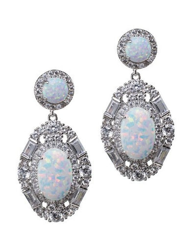 Opal Baguette Oval Earrings