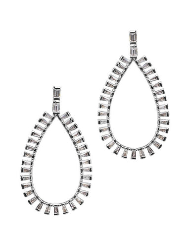 Baguette Open Teardrop Earrings