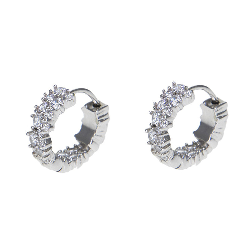 Cluster CZ Huggie Hoop Earrings