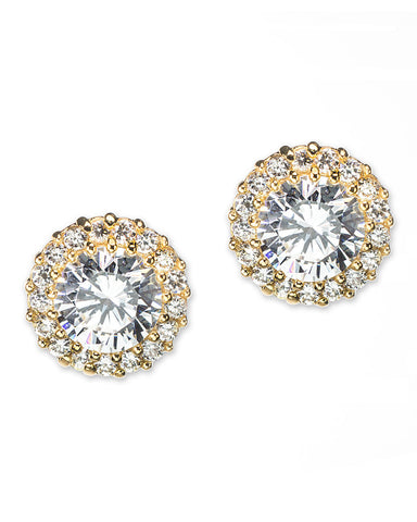 Classic Pavé Round Pierced Gold Plated Stud Earring