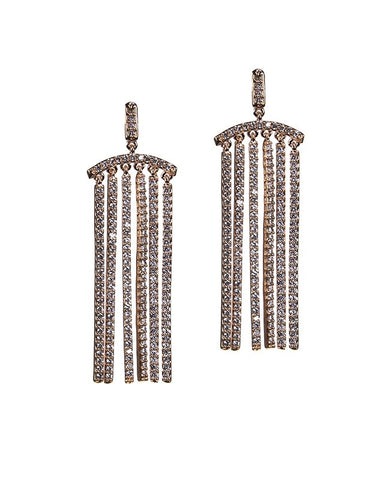 Pave Column Earrings in Rose Gold