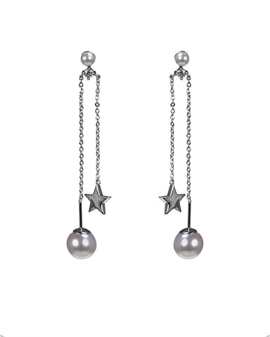 Pearl and Star Drop Earrings