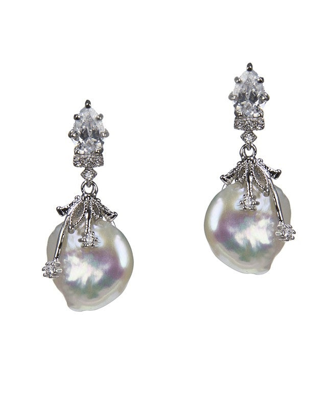 Pear and Freshwater Pearl Earrings