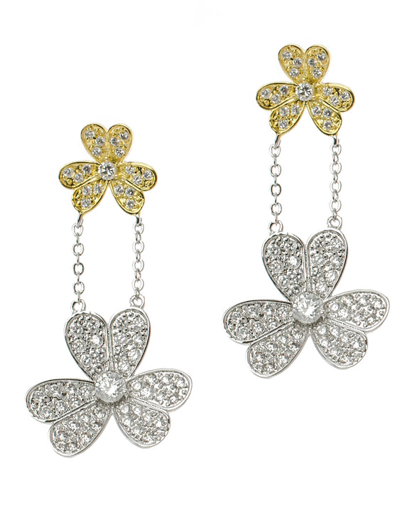 Double Pave Flower Drop Earrings