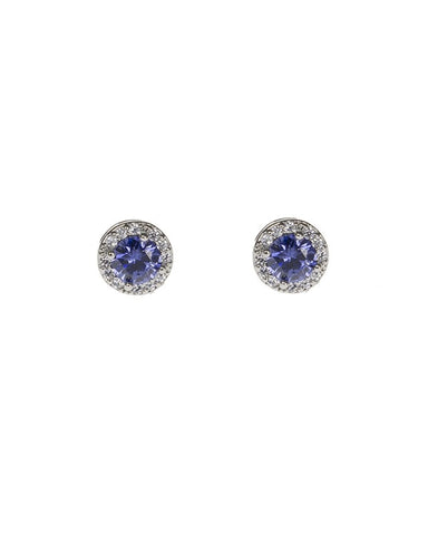 Amethyst Round CZ W/Pave Halo Stud Earring