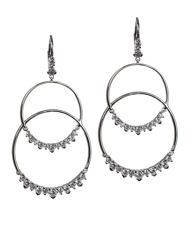 Open Circle Double Drop Earrings