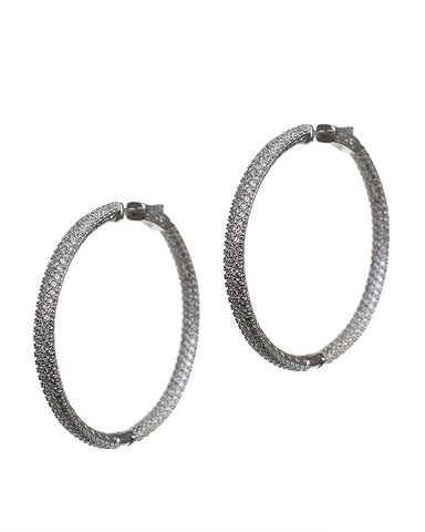 Glamorous Pave Hoop Earrings
