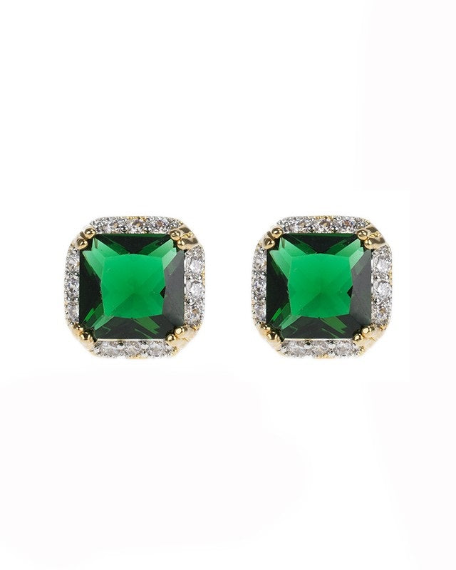 Princess Emerald and Pave Trim Earrings