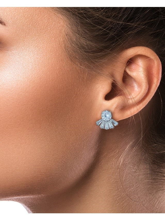 Baguette and Round Fan Earrings