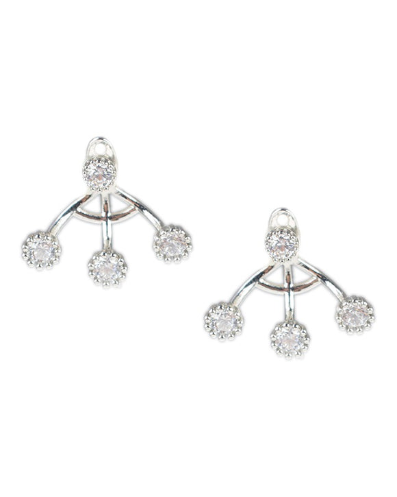 Round CZ Front to Back Earrings
