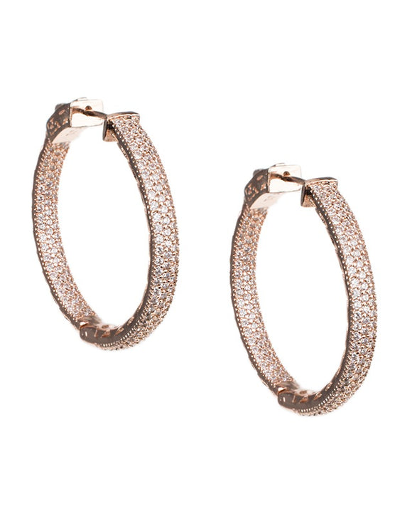 Rose Gold Classic Pave Hoop Earrings