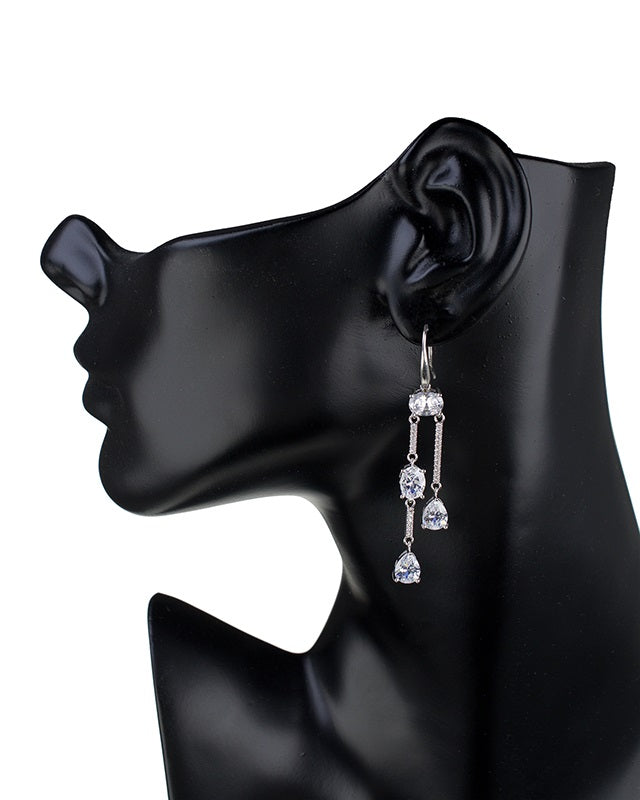 Mixed CZ Double Stranded Earrings