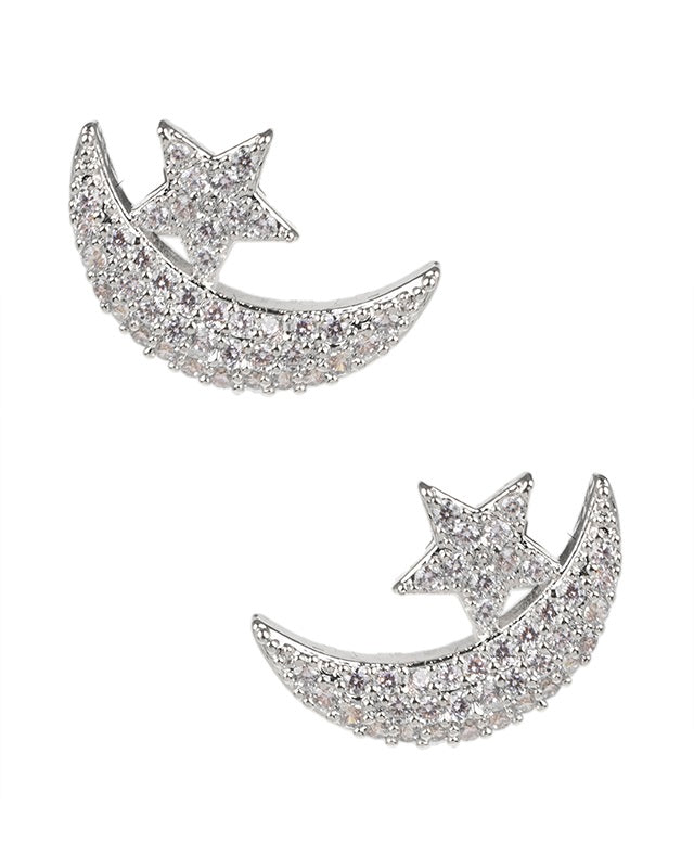 Pave Star and Moon Stud Earrings