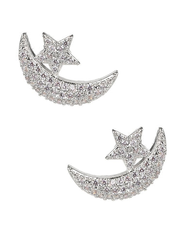 Pave Star and Moon Huggie Earrings