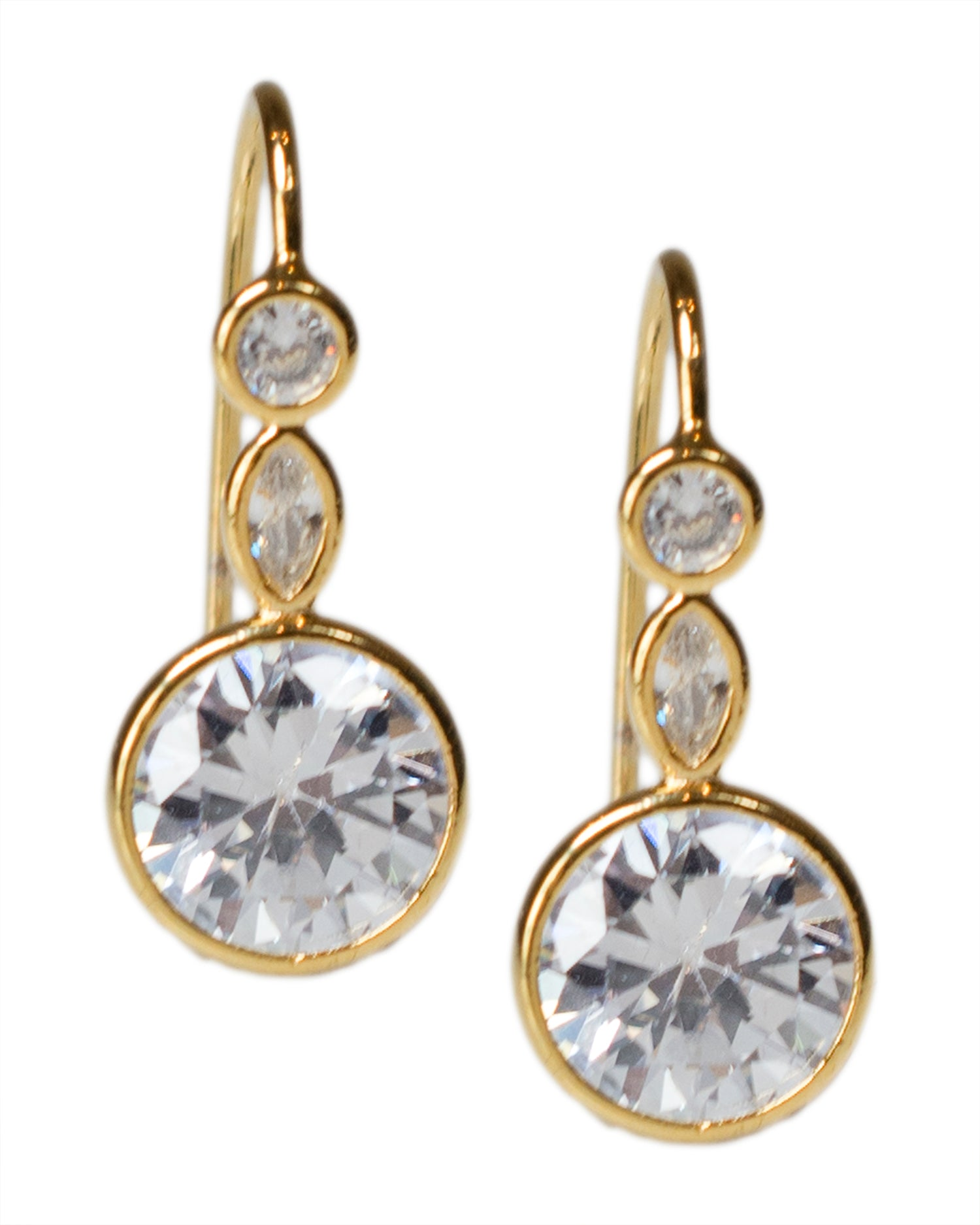 Round and Marquise CZ Wire Earrings