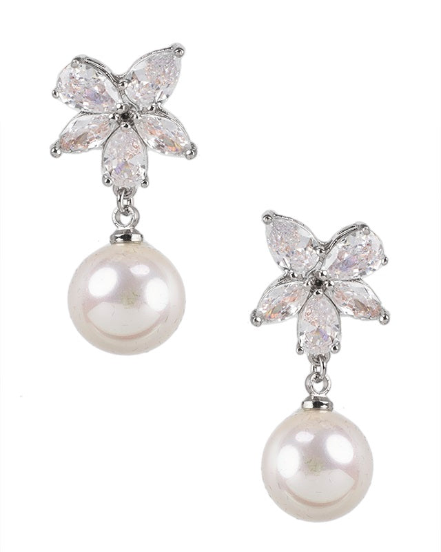Floral CZ Pearl Drop Earrings