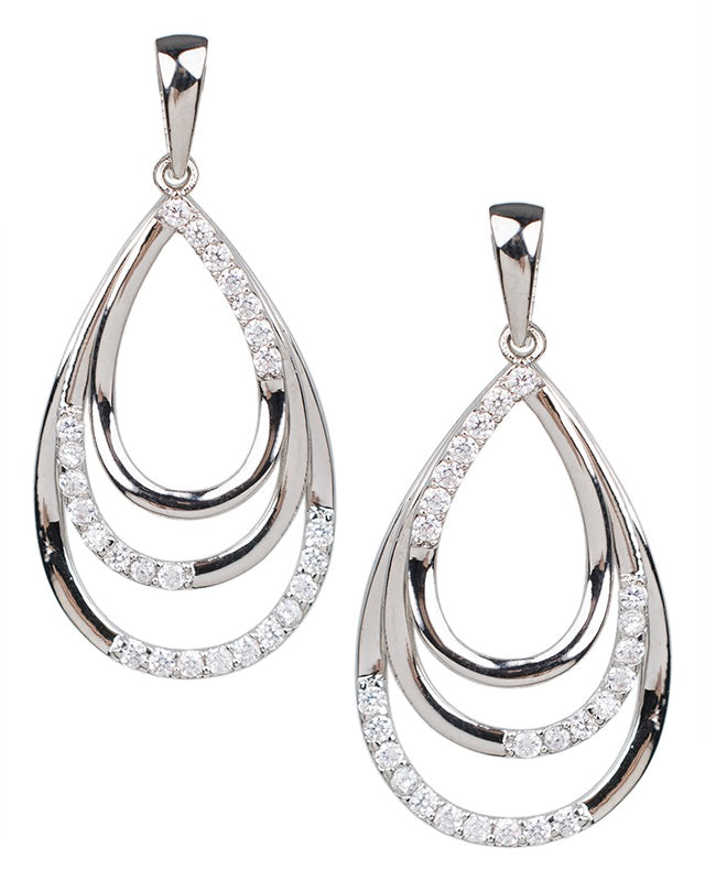 Triple Tiered Pear Earrings