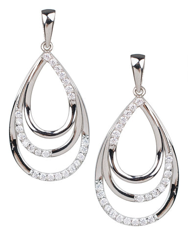 Pear and Round Open Teardrop Earrings