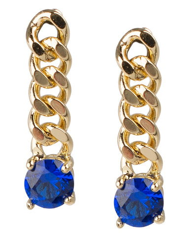 Blue Sapphire Baguette Inside Out Hoop Earrings
