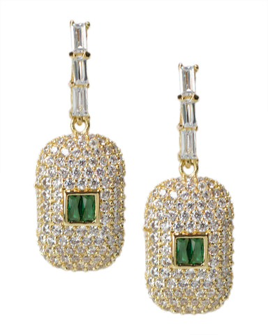 Canary and Champagne Cushion Drop Earrings