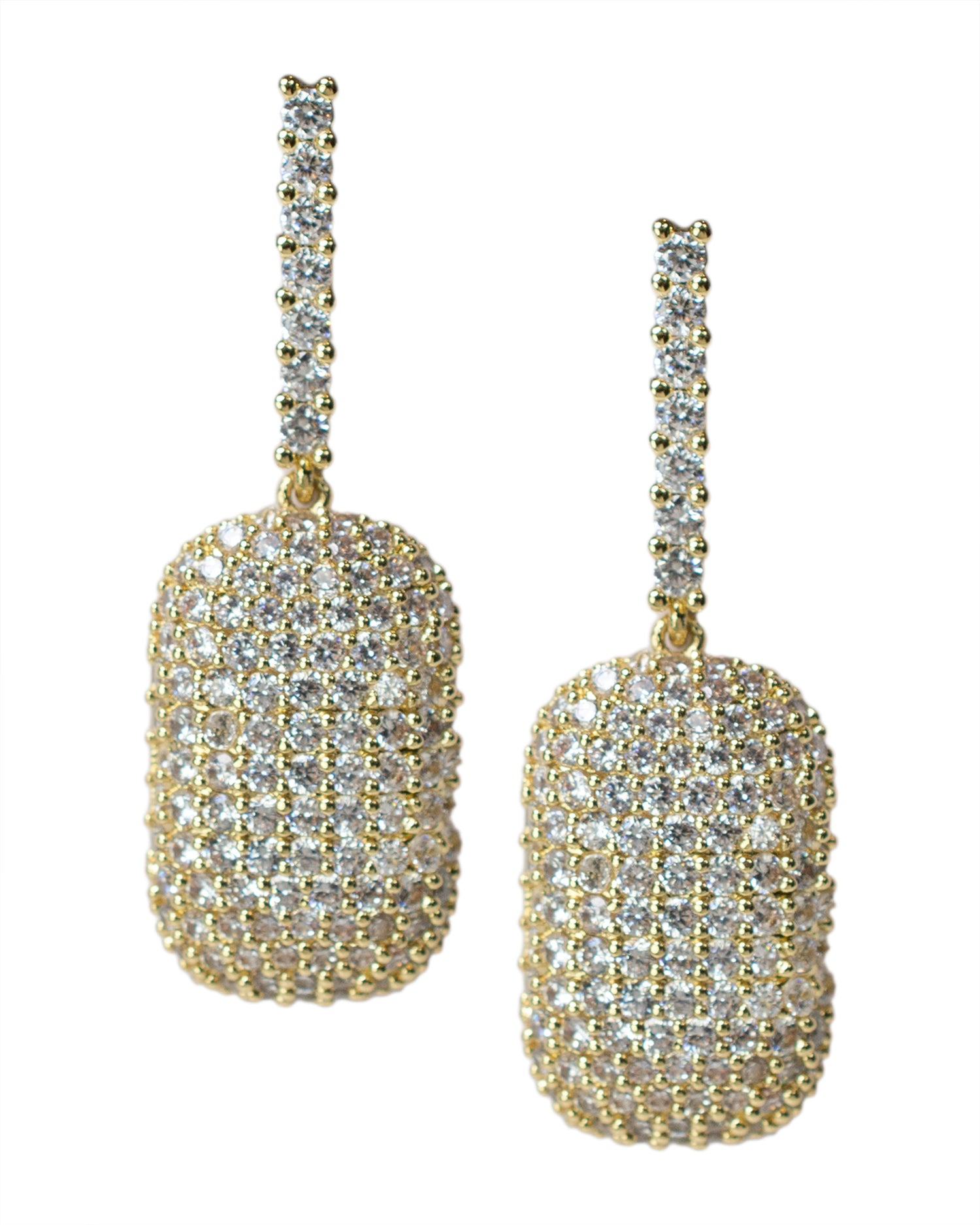 Pave Rectangle Drop Earrings