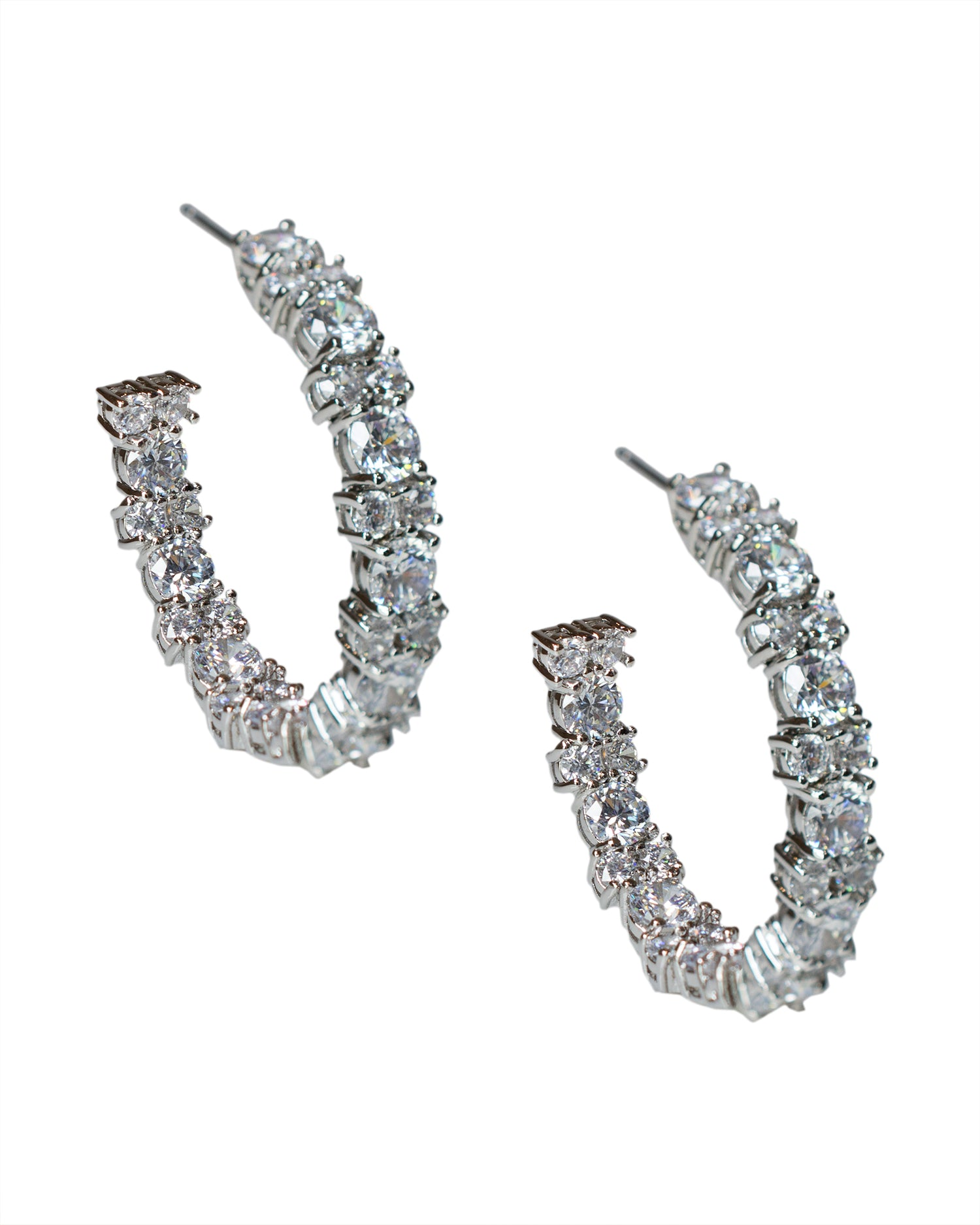 Round CZ Cluster Hoop Earrings