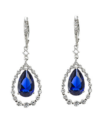 Blue Sapphire Pear Drop Earrings