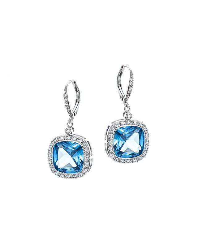 Aquamarine CZ Drop earrings