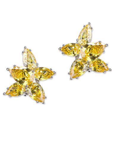 Canary Yellow Cluster Pear Clip Earring