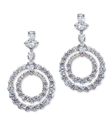 Double Circle Drop Round/Pear CZ Pierced Earrings