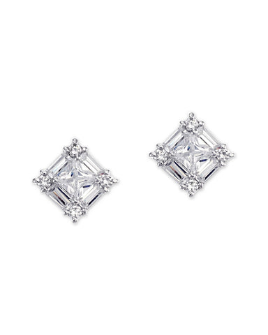 Baguette And Princess Cut Pierced Stud Earring