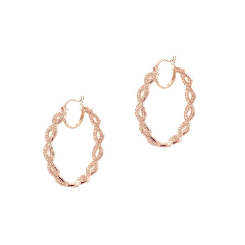 Rose Gold Plated Pavé Braided Pierced Hoop Earring