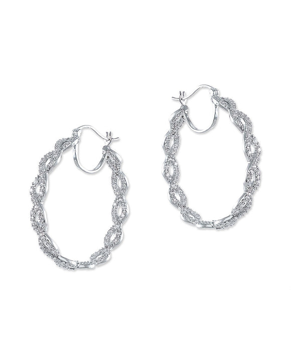 Pavé Braided Pierced Hoop Earring