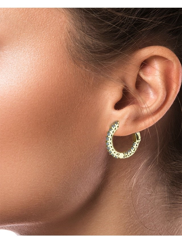 Petite Inside Out CZ Hoop Earrings Gold Plated