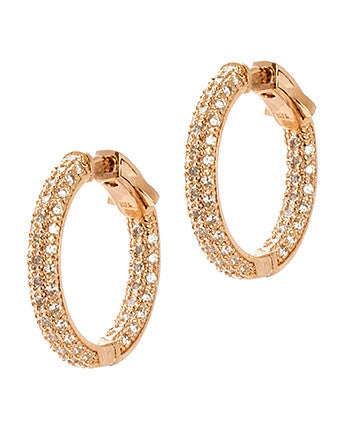 Pave Inside Out Diamond Simulant Mini Hoops