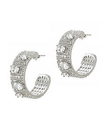 "1"" Pave Hoop Earrings"