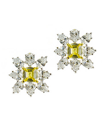 Princess Cut Canary Earrings