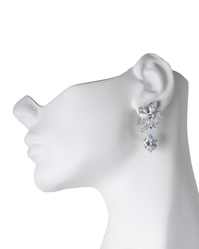 Floral Drop Pear Pierced Earring