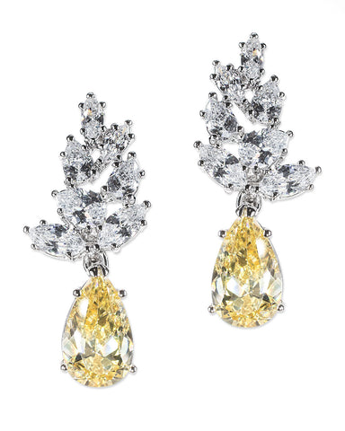 Canary Yellow Cluster Pear Drop Pierced Earring