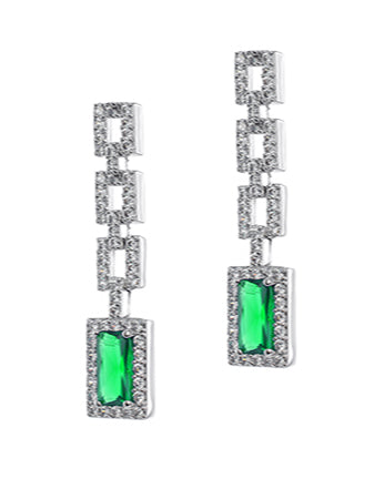 Pave and Emerald Link Earrings