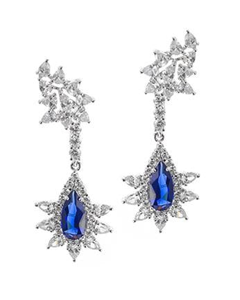 Blue CZ Starburst Drop Earrings