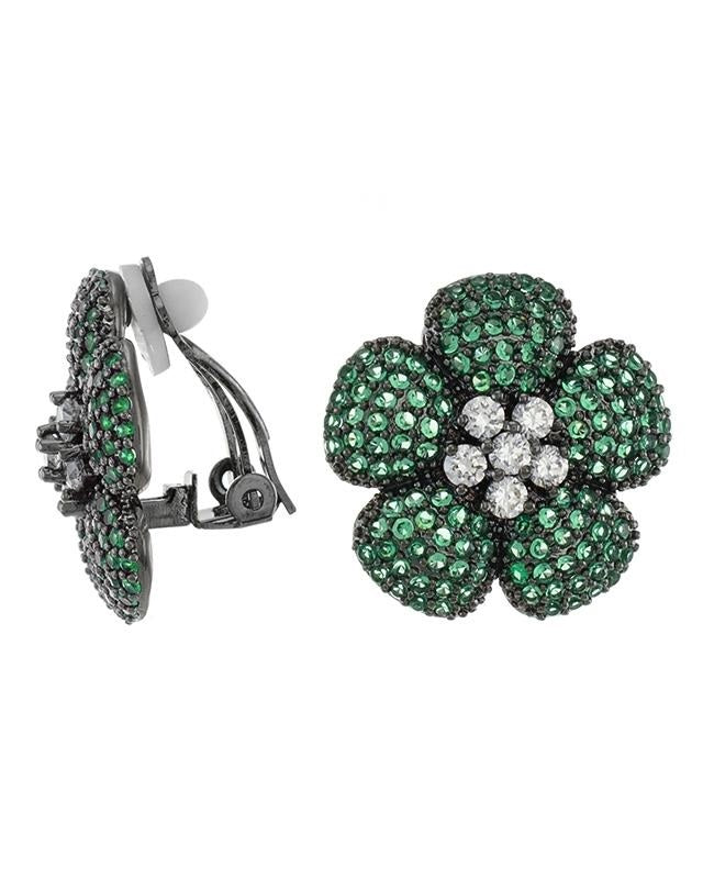 Emerald Flower Clip on Earrings