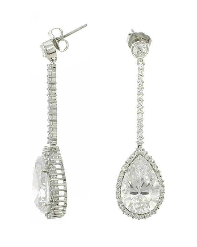 Pave and Pear Drop Earrings