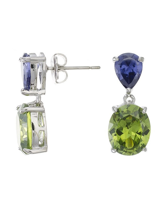Amethyst Pear/Peridot Oval CZ Drop