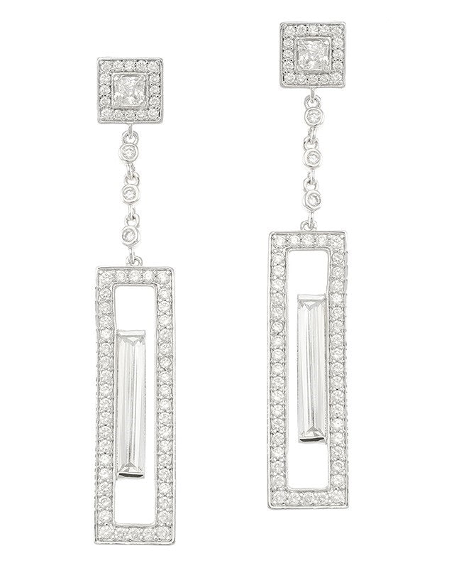 Pave Geometric Earrings