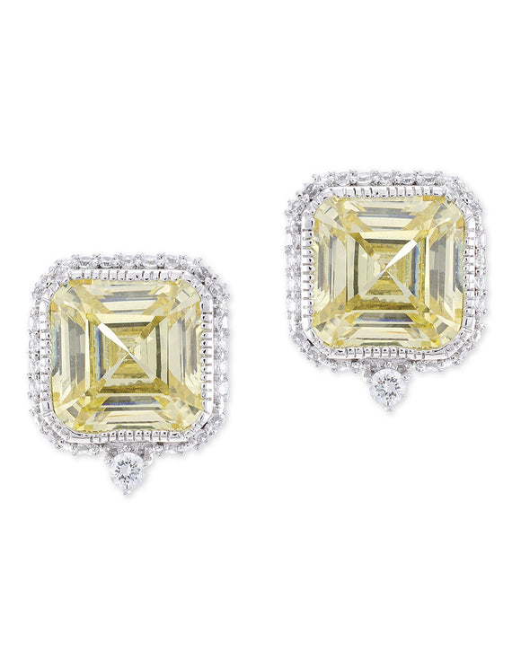 Canary Yellow Asscher Cut Pierced Stud Earring