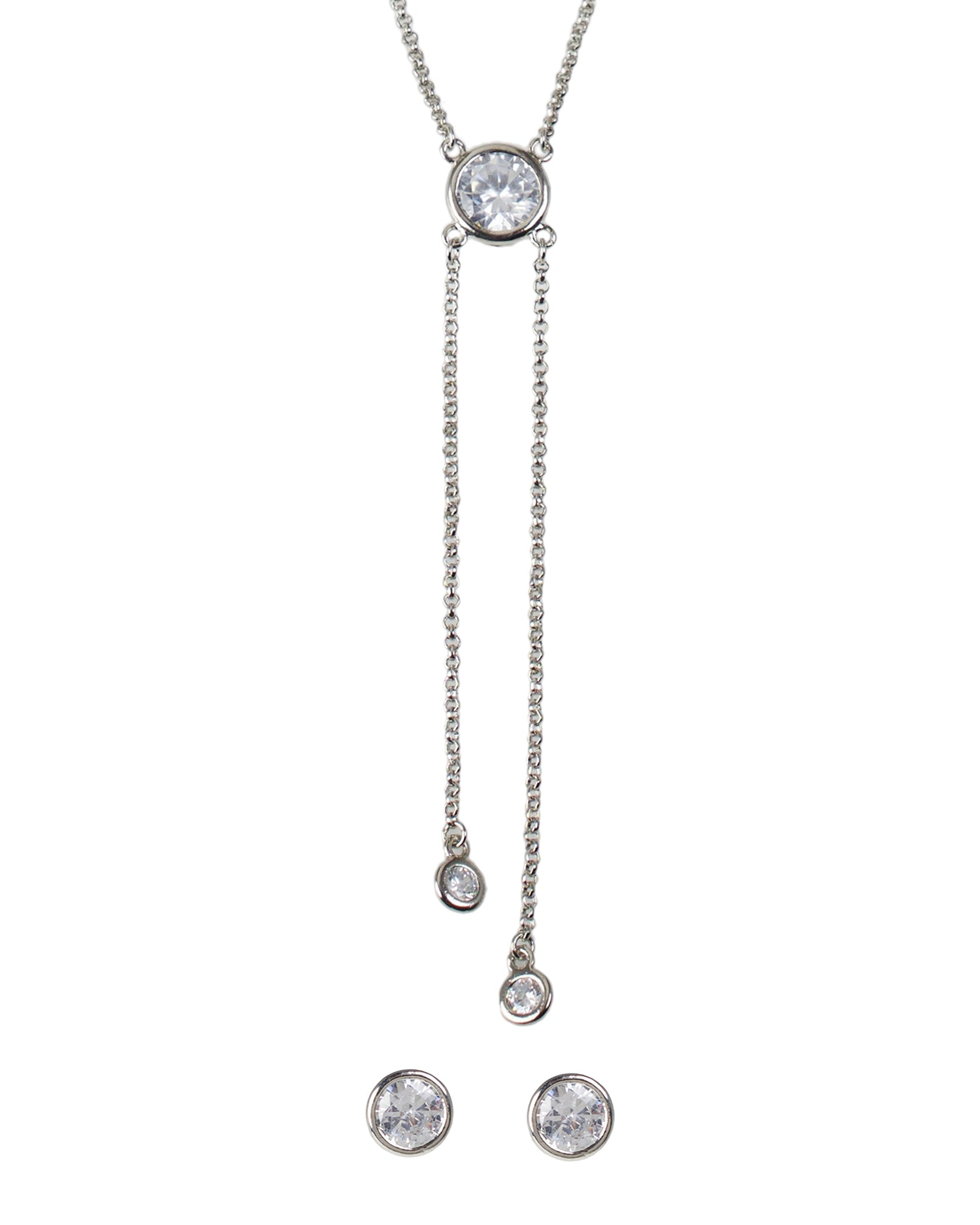 Bezel Round CZ Pendant with Post Earring Set