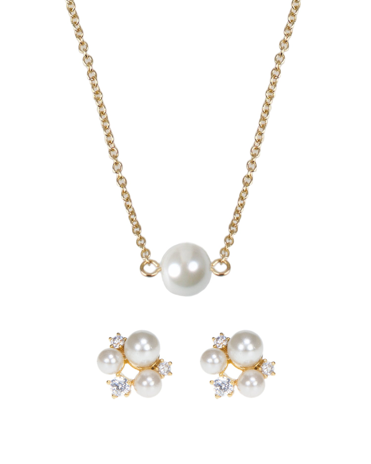 Glass Pearl Pendant Necklace with CZ and Pearl Cluster Post Earring Set