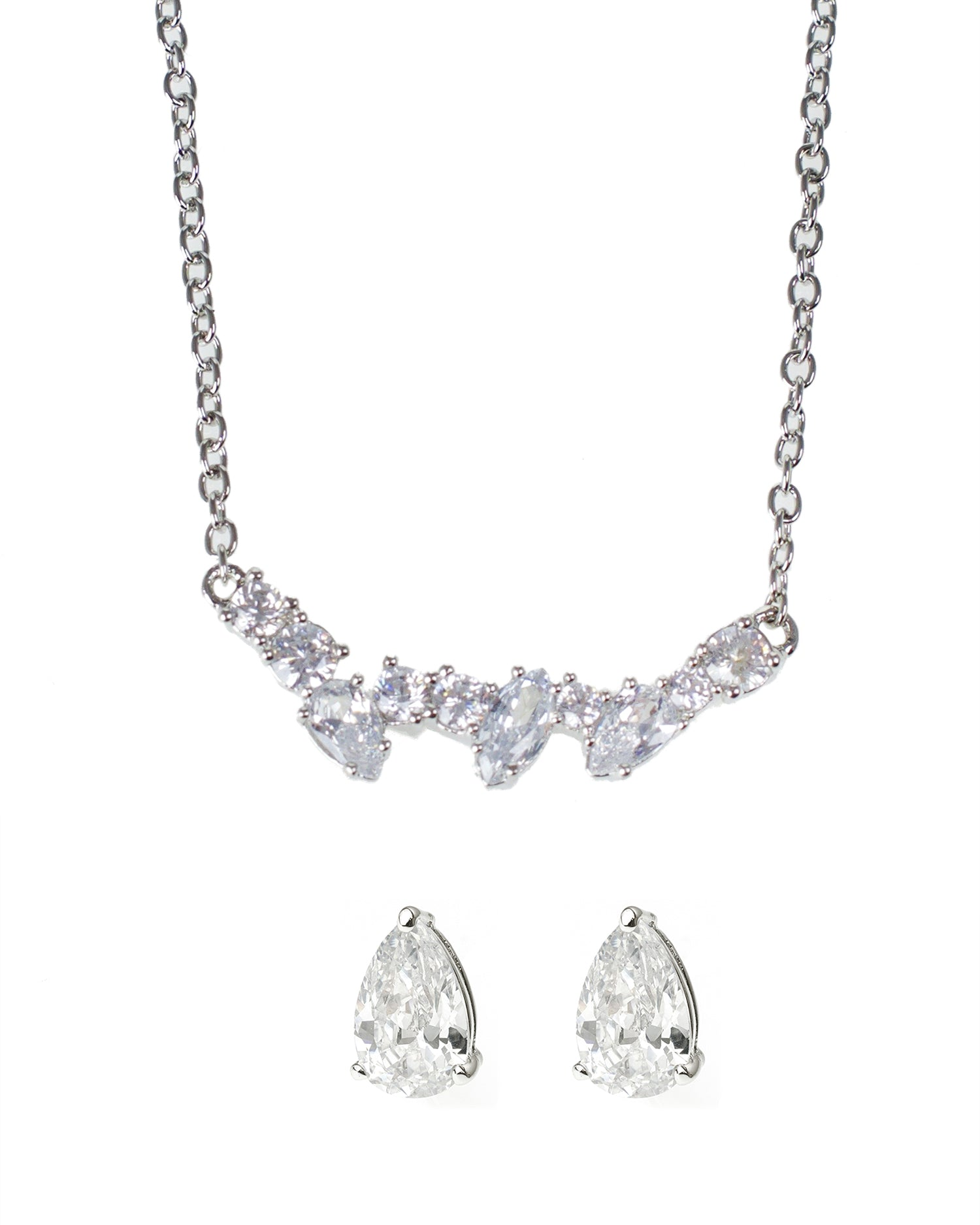Mixed CZ Necklace and Pear Post Earring Set