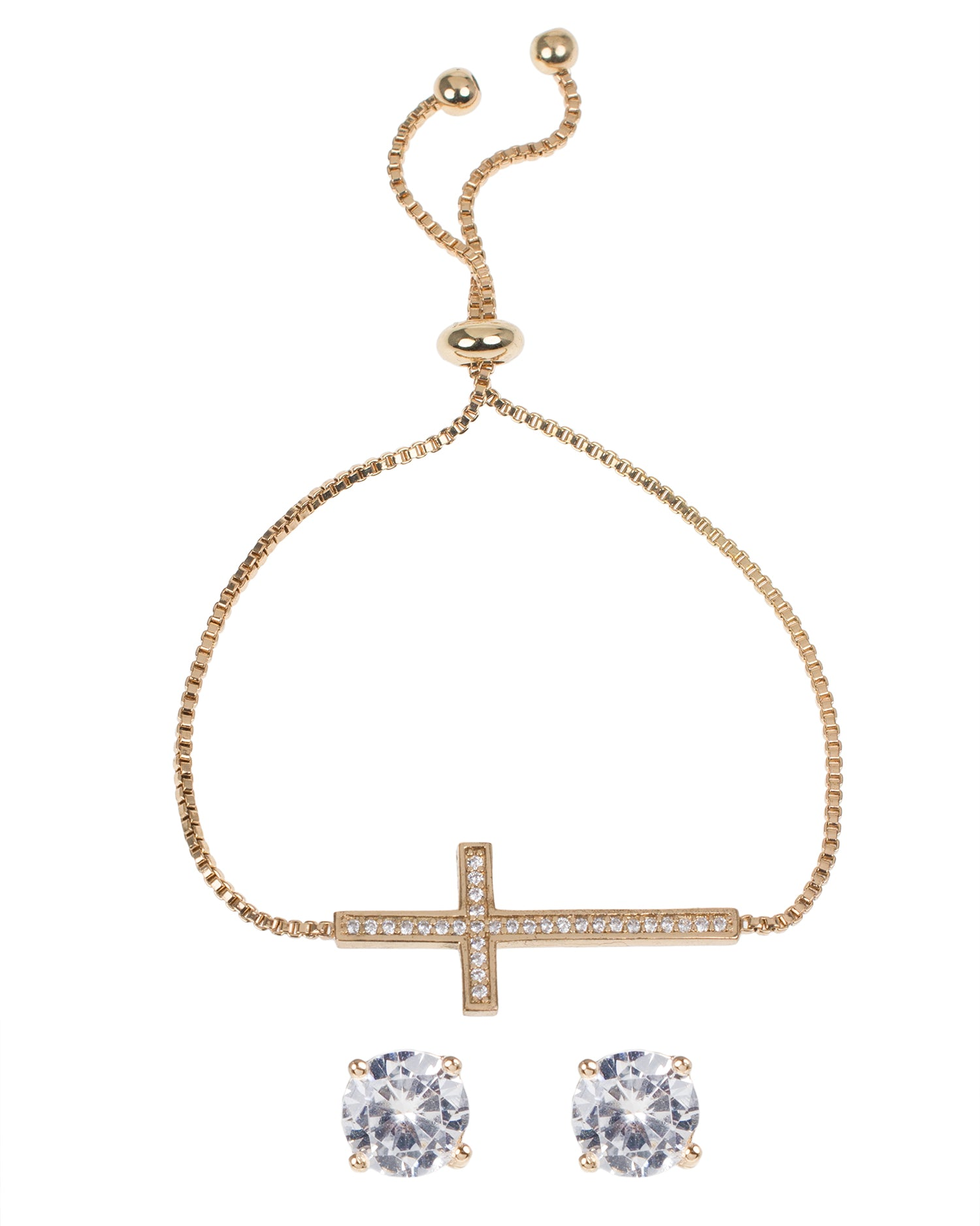 Pave CZ Cross Bolo Bracelet with Round Stud Earring Set in Yellow Gold